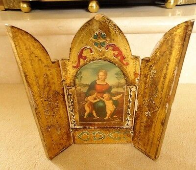 Antique Italian Florentine icon catholic church wood handpainted gold lily