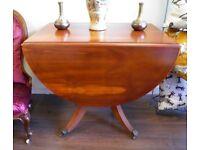 Lovely Vintage Drop Leaf Single Pedestal Dining Table - WE CAN DELIVER