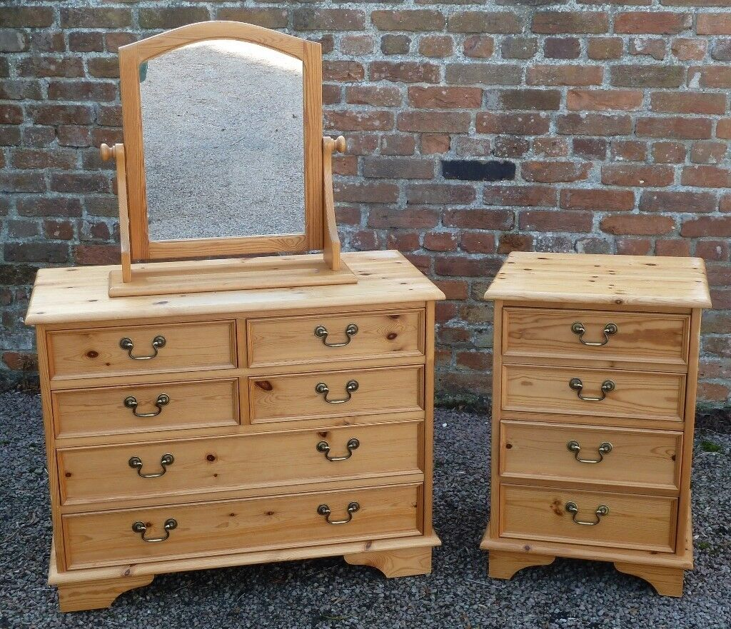 Solid Pine Chest of Drawers, Adjustable Mirror & Bedside Drawers