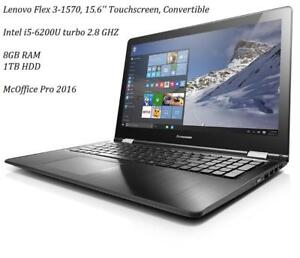 LENOVO FLEX 3 1570 15.6'' Touchscreen Convertible i5-6200 TURBO 2.8 ghz, 8GB RAM,1TB + MC OFFICE PRO