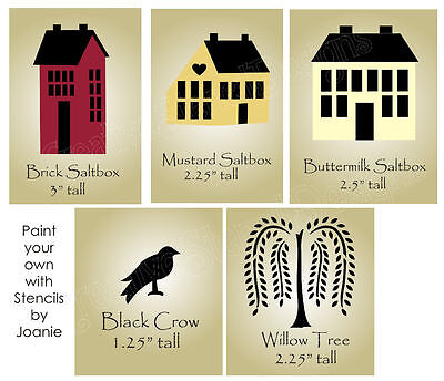 Stencil Saltbox House Home Folk Art Primitive Crow Willow Tree Country -