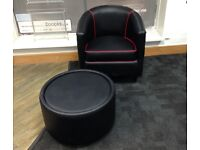 Pvc leather look tub chair and table black with red piping. Excellent condition