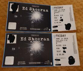 2 x Ed Sheeran Tickets seated Wembley Stadium Friday 15th June £50 per ticket