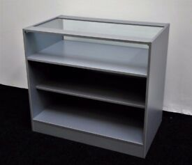 Shop Counter with Glass Grey Metallica Matt Finish 1200mm/ Ref: 0332