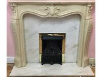 Fireplace, marble back and base