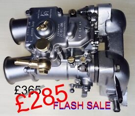 WEBER 45DCOE CARBURETTOR with ROTATABLE INLET TRUMPETS plus SHORT MANIFOLD