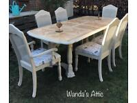 French hand painted Table and 6 chairs