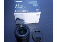 Panasonic 25mm f1.7 LUMIX G ASPH Black Lens - Four Thirds