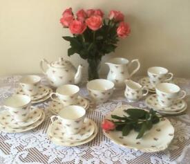 Beautiful Vintage 1950's Duchess Ditsy Rosebud Rose Complete Tea Set with free extras