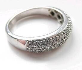 18ct White Gold Diamond Pave Ring Size L/2