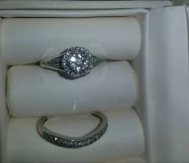 9CT White Gold and diamond engagement and wedding ring bridal set