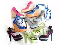 bundle job lot size 4 platform wedge heels sandals shoes size UK 4