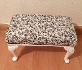 Upcycled vintage adjustable footstool