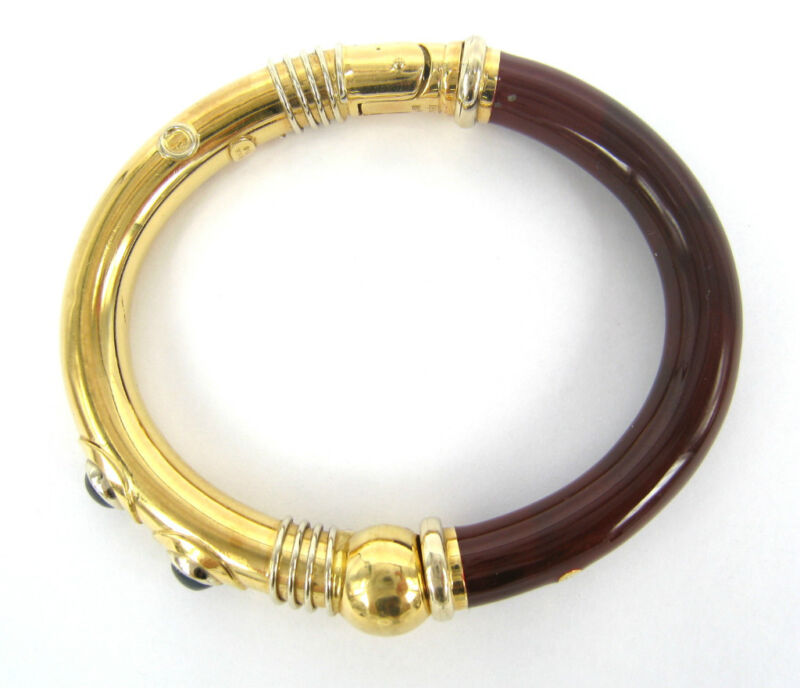 Vintage Italian Red & Blue Enamel 18k Yellow Gold Hand Made Flex Bangle