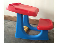 Children's Desk with seat attached plastic red and blue