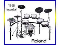 ROLAND TD-20 exp TDW-20 module & 5x Vex packs electronic V-Drums kit hardware - black - SUPERB