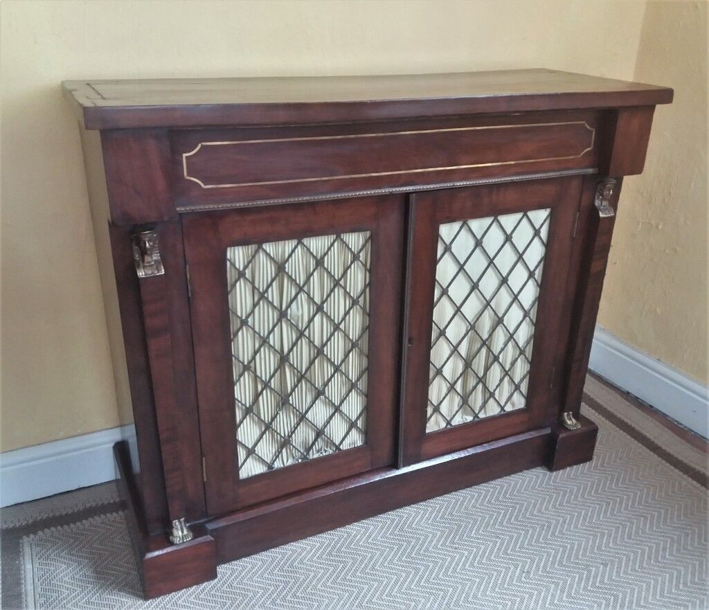 Regency Style Egyptian Revival 19th Century Mahogany Veneer Chiffonier Sideboard Antique Furniture