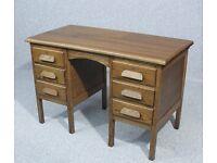 Vintage 1920's Oak Pedestal Kneehole Desk