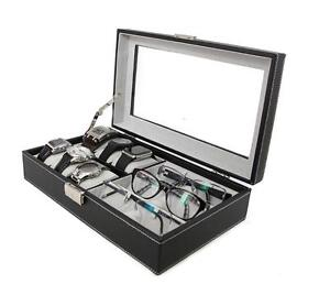 Top Quality Leatherette Executive Combo Jewelry Box and Sunglass Glasses Display Case Organizer (Black)