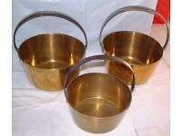 3 Antique Brass Jam Pans 2off top diameter 12 inches+1off 10inch with steel handles & copper rivets