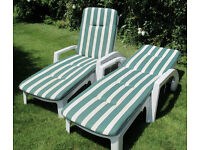 Two sun loungers with cushions