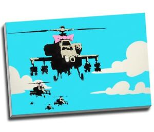 Banksy Graffiti Helicopter Canvas Print Wall Art 30x20