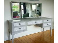 Stunning Large Stag Dressing Table Grey and Silver Newly Upcycled Vintage Shabby chic Furniture