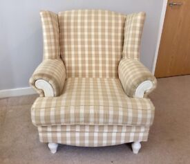 Cream Winged-Back Armchair with optional cover