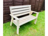 New Handmade Solid Pine Two Seater Wooden Garden Bench