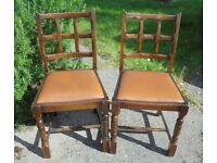 Two Vintage Oak Dining Chairs, £25 for the pair