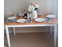 Stunning Shabby Chic Farmhouse Solid Pine 6 Seater Dining Table - Handpainted in Farrow & Ball