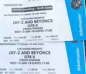 Jay z Beyoncé Manchester Etihad x 2 Standing Tickets Blue Zone