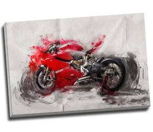 Large Ducati Motorbike Painting Canvas Print Wall Art 30x20 Inches A1