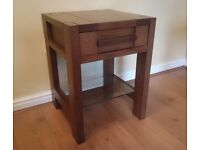 Solid oak wooden bedside table with drawer and glass shelf - Immaculate