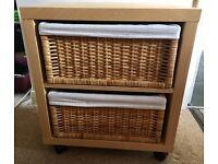IKEA beech wood effect 2 shelf unit with lined wicker baskets