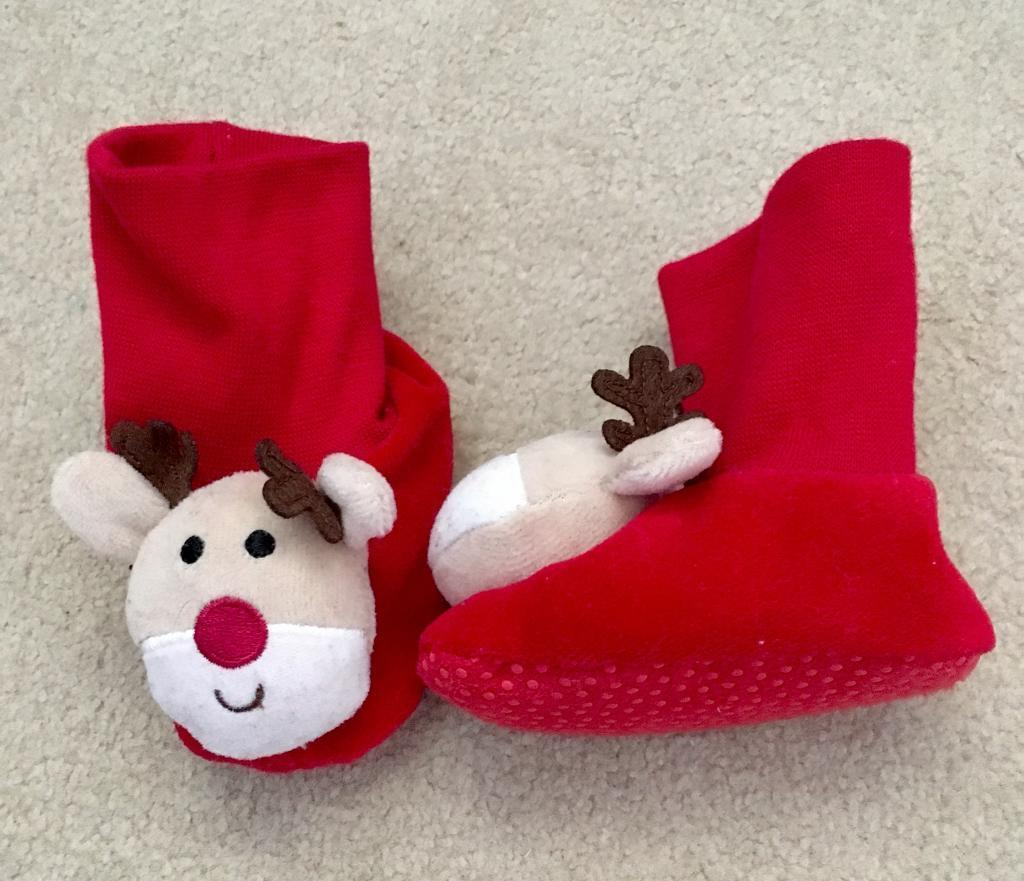 0-6 months Christmas rattle booties