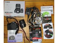Ideal DSLR starter kit. Canon 450D with 18-55mm lens and accessories