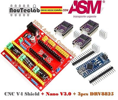 CNC Shield V4 Expansion Board + Nano V3.0 + 3pcs DRV8825 Stepper Motor Driver