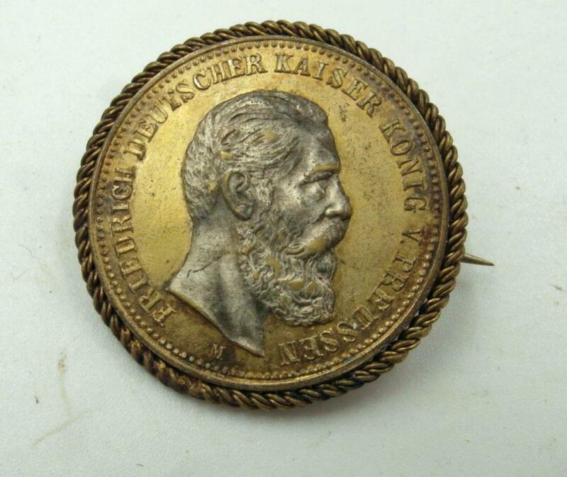 FREDERICK III, GERMAN EMPEROR 1888 FUNERAL MOURNING MEDAL PIN RARE
