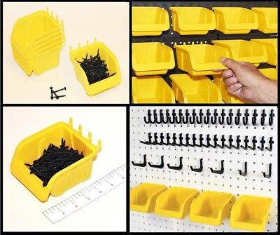Wallpeg 56 Pegboard Kit Storage Part Bins And Flex-lock Peg Hooks For 14 Holes