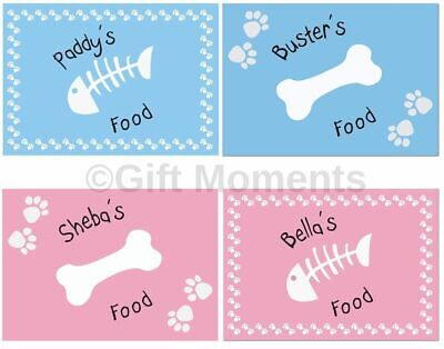 Dog and Cat Personalised Feeding Placemat - Pink or Blue - Bone and Fish Designs