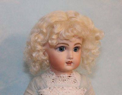 Dee  Light Blonde mohair doll wig for antique French or German doll Size 16