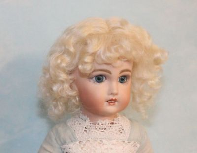 Dee Light Blonde mohair wig  for antique French or German doll size 8
