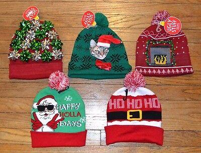 Ugly Stuff Holiday Supply Co  Christmas Hats Beanie Pom Pom Cat Led Blinking Eye