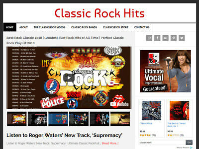 Classic Rock Video   Blog Website Business For Sale W  Auto Updating Content