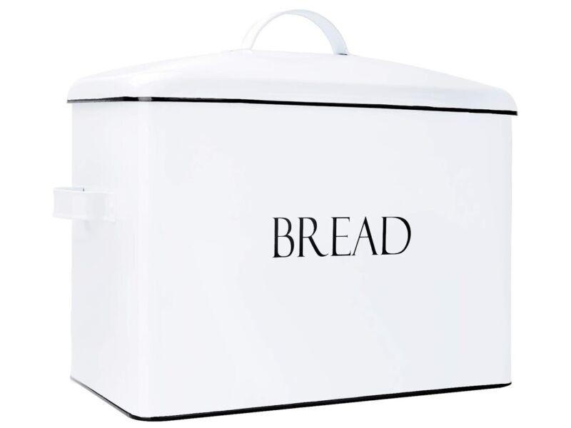 Outshine Bread Storage Box Vintage Metal Farmhouse Bread Bin White Open Box