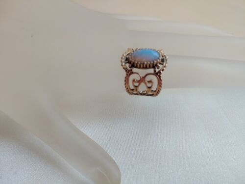 VINTAGE OPAL FAUX COVENTRY GOLD TONE SCROLLED RING #A