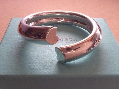 RARE Tiffany & Co Paloma Picasso Tenderness Heart Sterling Silver Cuff Bangle