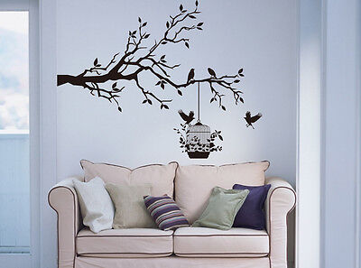 ('Tree Branch with Birds & Cage' Wall Art Vinyl Sticker, Wall Decal- HIGH QUALITY)