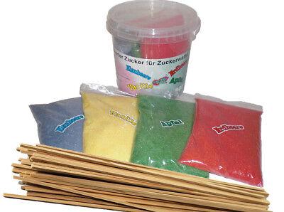 4x200G Aromazucker + 50 Zuckerwattestäbe Für Zuckerwattemaschine Zuckerwatte NEU